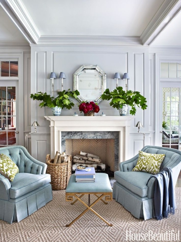 Pale blue fireplace sitting area