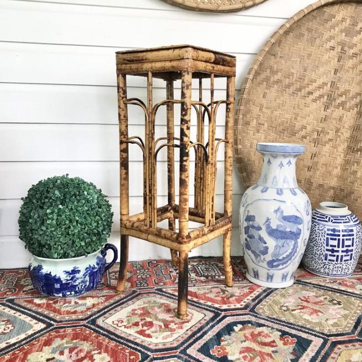 Vintage tortoiseshell bamboo plant stand