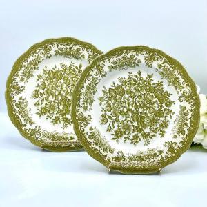 Green transferware plates