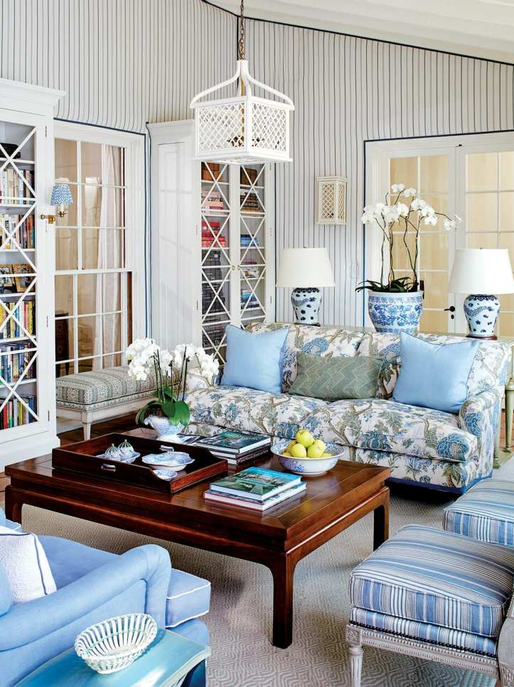 Mark D. Sikes living room with stripe wallpaper