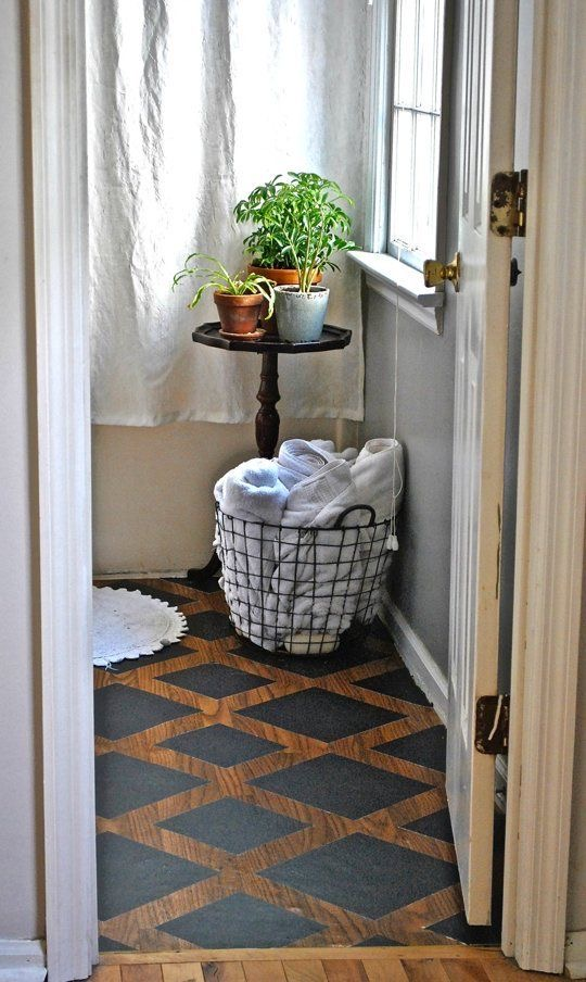 Checkerboard painted floor