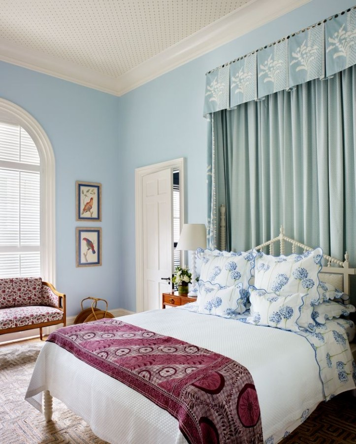Pale blue bedroom by Bunny Williams