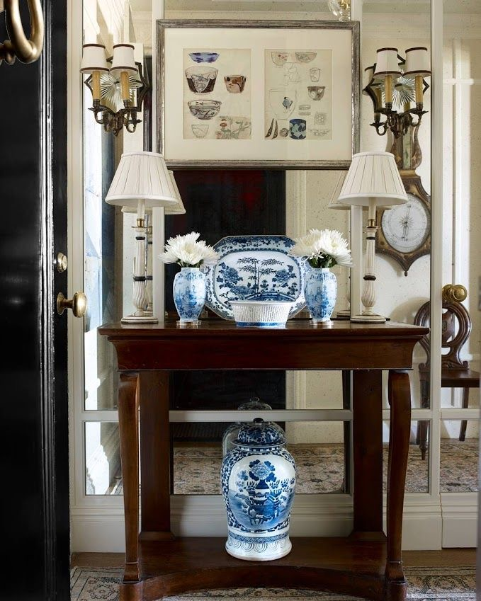 Cathy Kincaid entryway with blue and white ginger jar