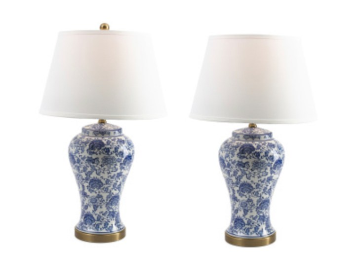 Pair of blue and white ginger jar lamps