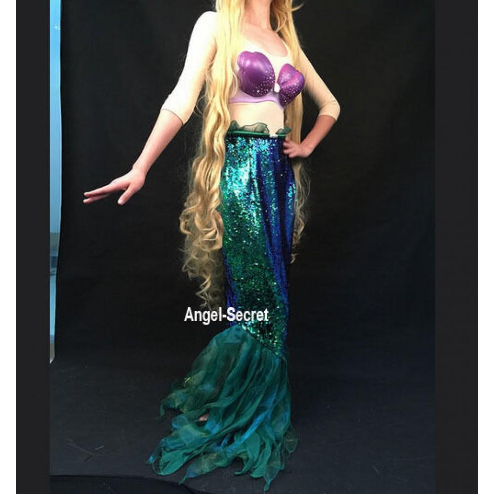 P141 High Waist Green Sequins Mermaid Skirt Fish Ariel Tail