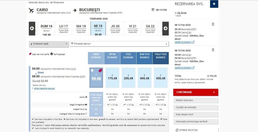 zboruri directe București - Cairo 193€ dus-întors
