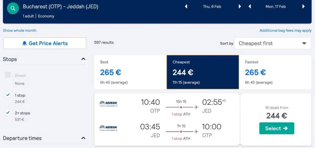 Zboruri spre Arabia Saudită de la 244€