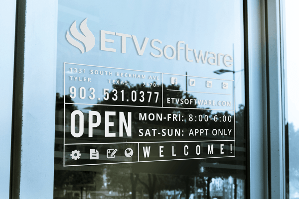 ETV Software Window Signage