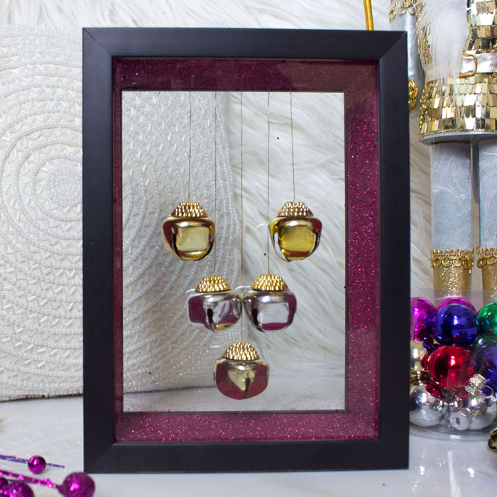 Dollar Tree DIY Christmas Decor - Jingle Bell Shadow Box