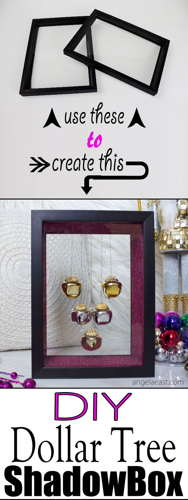 Dollar tree diy christmas decor jingle bell shadow box