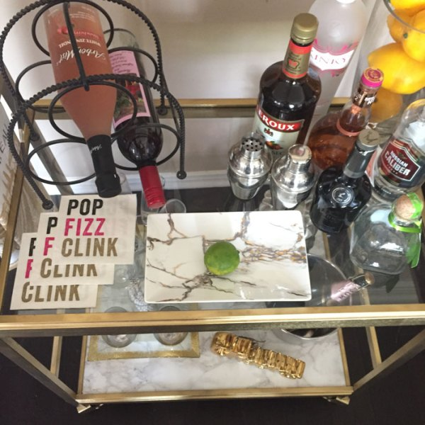 Goodwill Bar Cart Makeover - Thrift Store DIY | Recycle | Upcycle | Bar Station | Marble Contact Paper | Custom cut glass | Gold Spray Paint