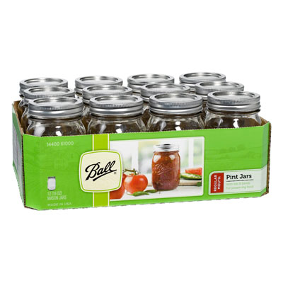 Ball Pint Regular Mouth Jars and Lids BPA Free, 16 oz, Set of 12