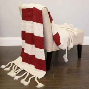 Small Front Porch Decorating Ideas For Summer |Luxurious Throw Blanket - Red White Striped| Outdoor Living | Home Decor | Curb Appeal | Fourth of July Decoration | 4th of July Decoration
