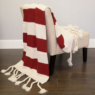 Luxurious Throw Blanket – Red and White Striped