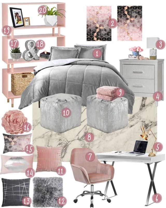 Grey Pink College Dorm Room or Teen Bedroom Mood Board
