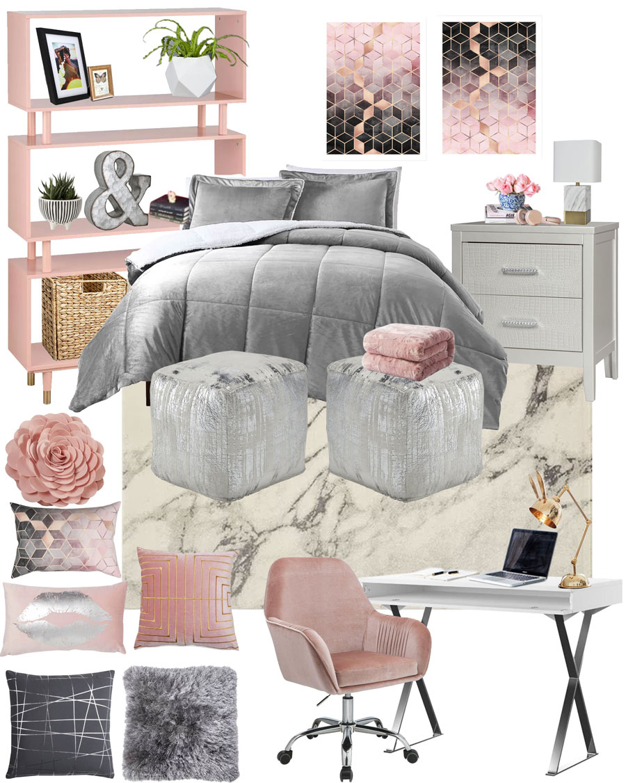 Grey / Pink College Dorm Room or Teen Bedroom Mood Board. Bedroom Decorations | Pretty Decor | Girly Decor | Soft Decorations