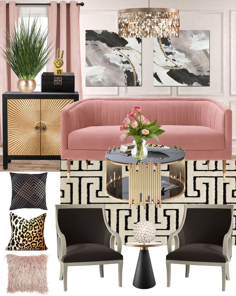 Pink Living Room Mood Board