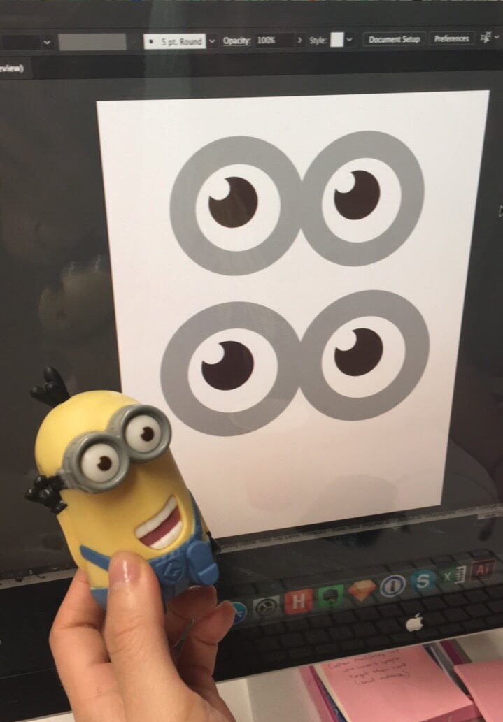 diy minion eyes