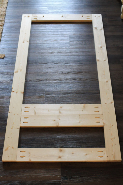 DIY hall tree frame boards joined together with kreg screws