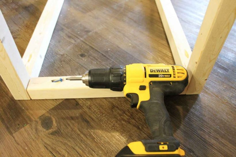 Attaching bar cart frame together with drill and Kreg screws