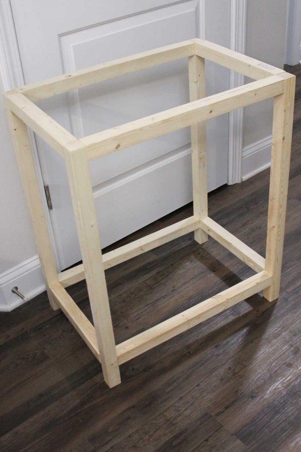 assembled bar cart frame out of 2x2 wood pieces