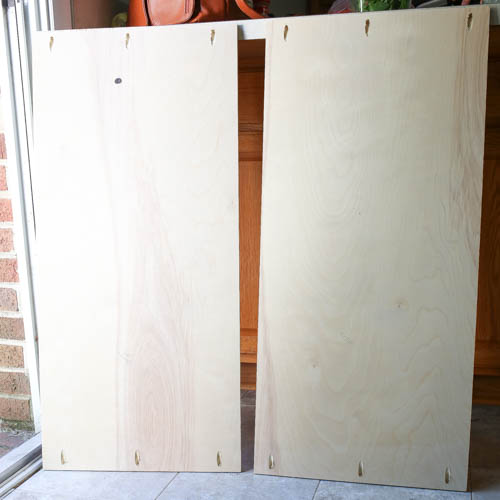 three pocket holes shown on both sides of TV stand wood base