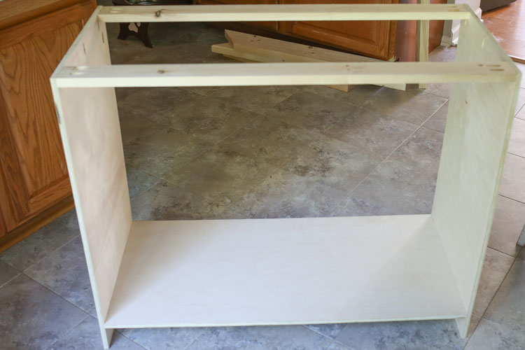 DIY Rustic TV Stand being built