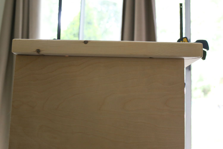 attaching DIY TV stand top to the base