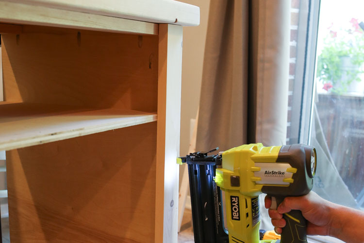 Attaching side trim to DIY TV stand with brad nailer