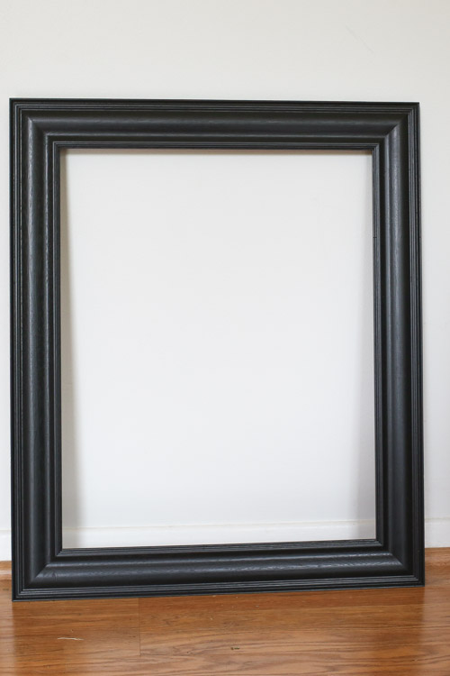 Black picture frame before chalk paint