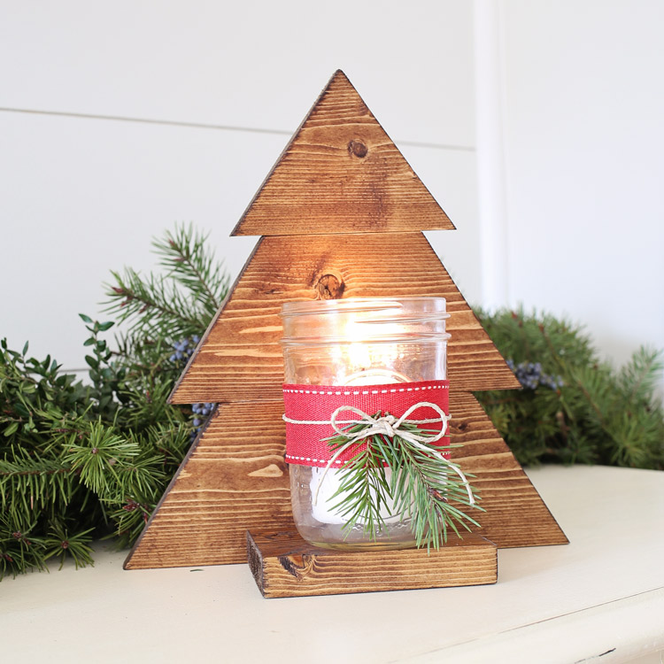 Wood Christmas Decorations.Diy Wood Christmas Tree Mason Jar Sconce Angela Marie Made