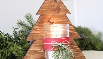 diy wood christmas tree mason jar sconce - Rustic Wood Christmas Tree