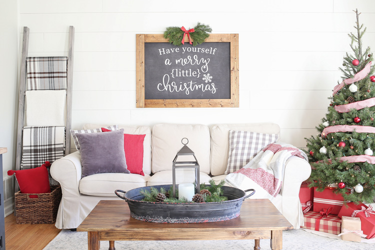 Rustic Red and White Christmas Living Room Decor