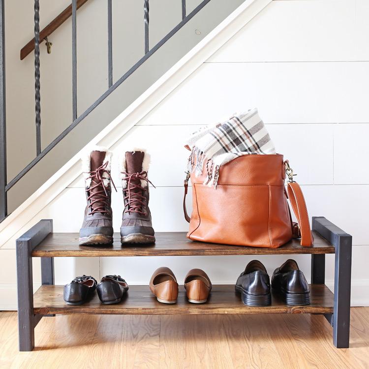 Entryway DIY Shoe Rack - Angela Marie Made