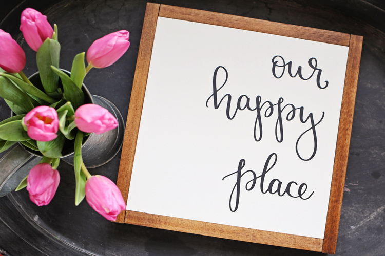 Our Happy Place DIY Wood Sign with pink tulips on black tray