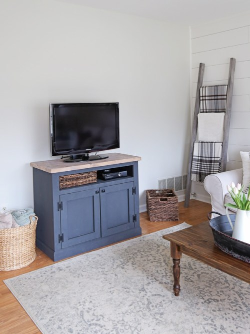 DIY Gray TV stand and TV in living room makeover