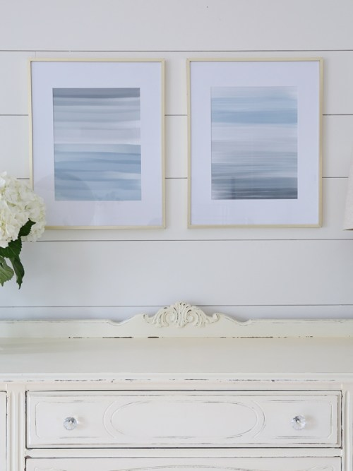 abstract painting prints in modern gold picture frames