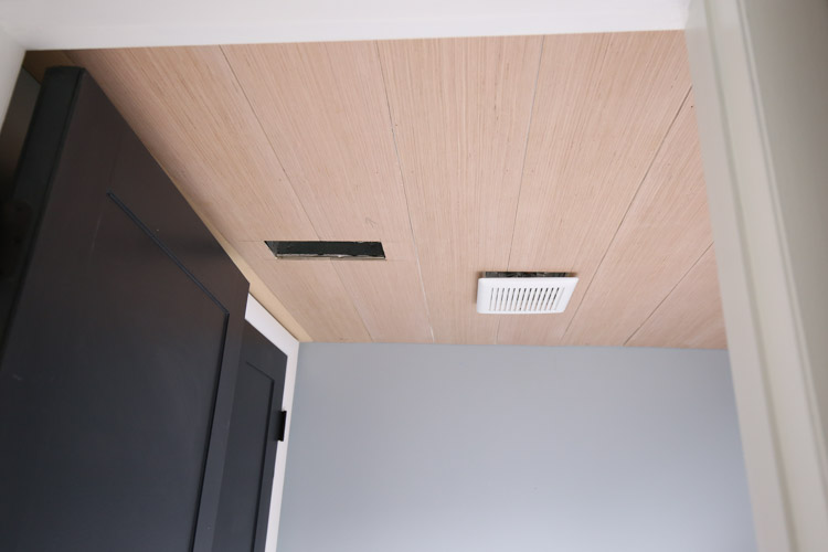 shiplap ceiling DIY on a bathroom ceiling