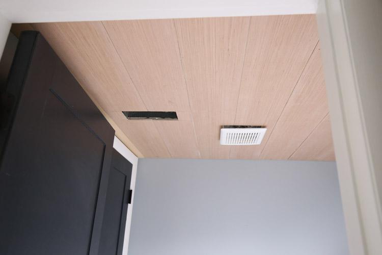 shiplap ceiling DIY on a bathroom ceiling