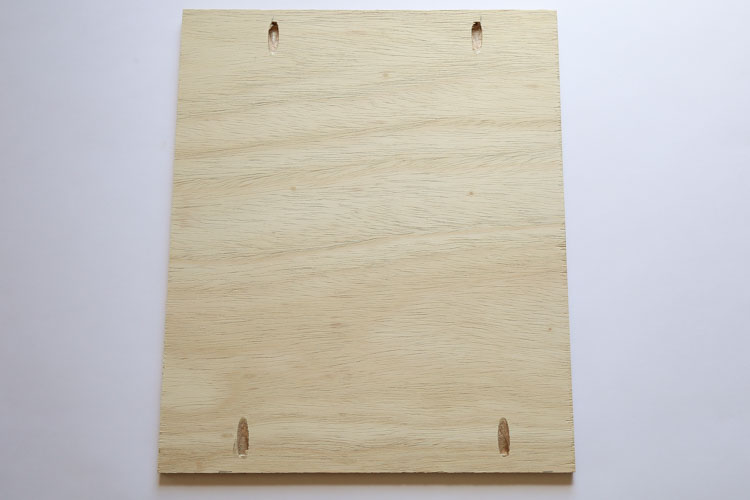 Two pocket holes on each side of the two plywood pieces for DIY vanity sides