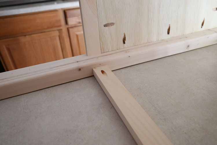 Add front board to wood vanity with kreg screws