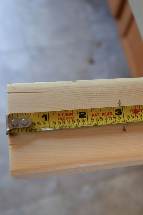 "Measure 3.5"" on vanity leg"