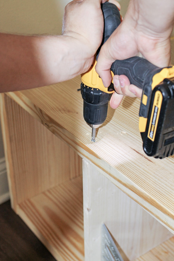 Drilling into wood with a power drill