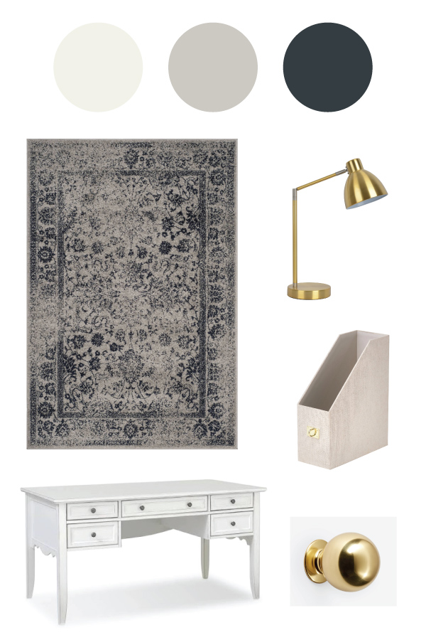 Grey Navy and White Office Makeover Mood Board