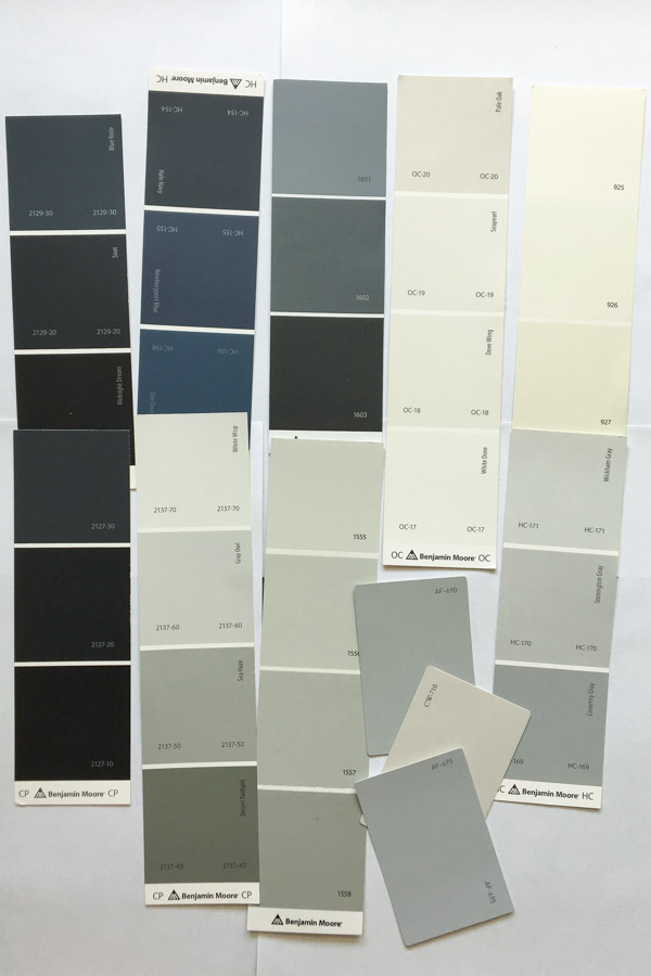 Blue and Grey Benjamin Moore Paint Color Swatches