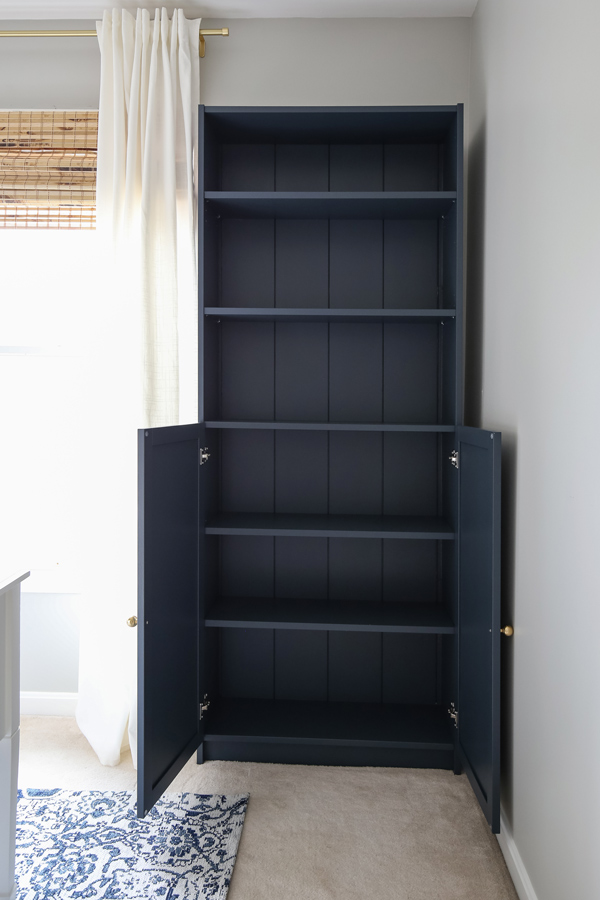 IKEA Billy bookcase hack with doors open
