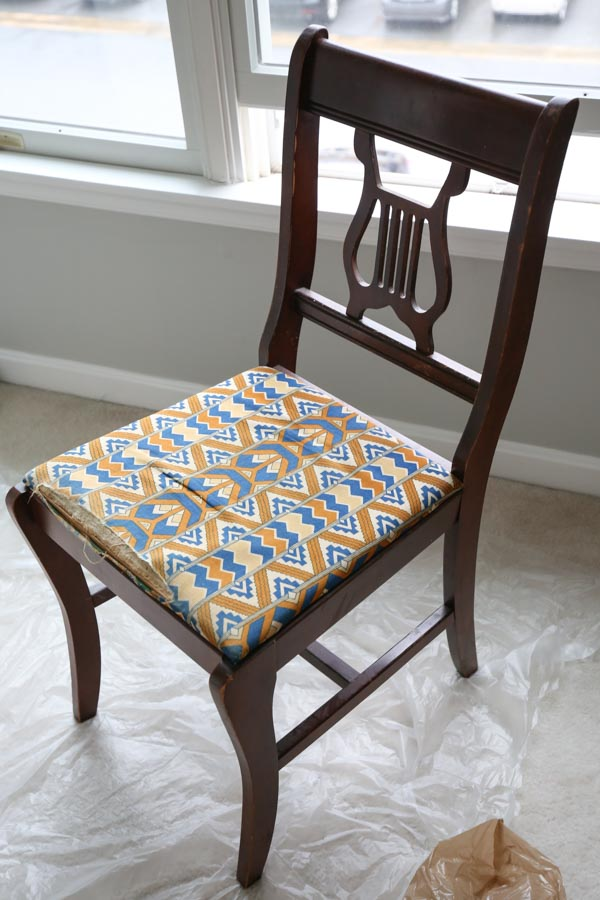 old chair before paint and fabric makeover