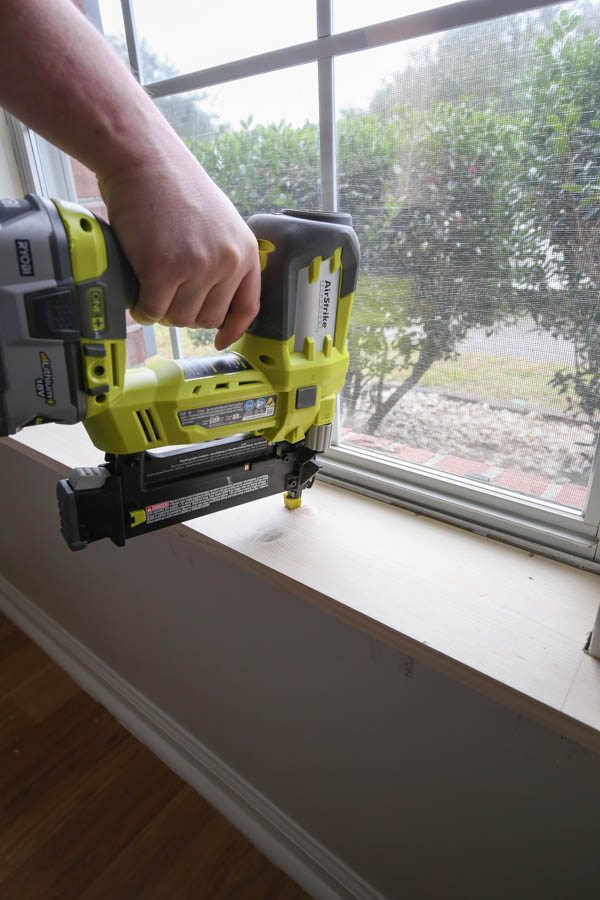 installing new window sill with brad nailer