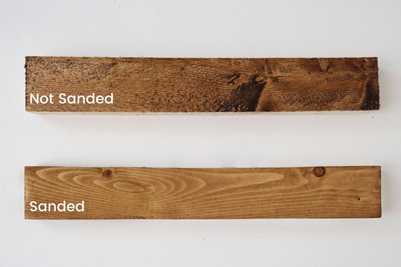 sanded wood with stain compared to non sanded wood with stain
