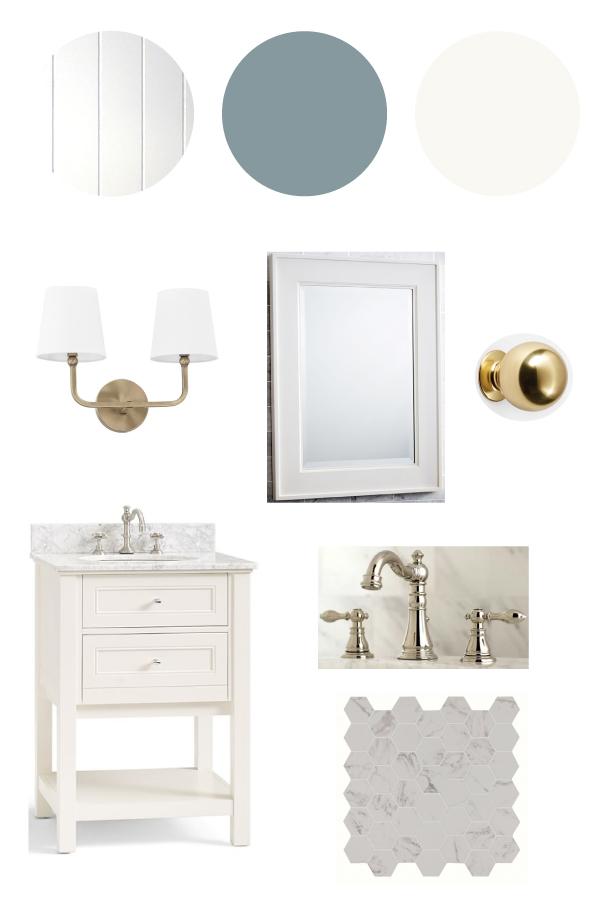 classic and coastal master bathroom design plan mood board